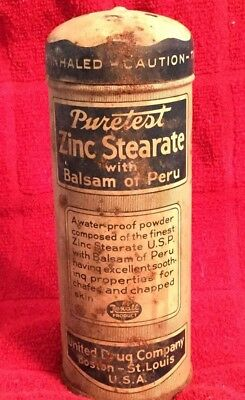 Vintage Rexall Puretest Zinc Stearate with Balsam of Peru Tin A Little Powder