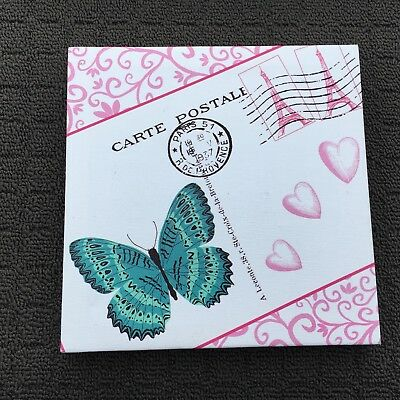 """CARTE POSTAL """"Pink & Teal"""" Lovely Butterfly Decorative Hanging Picture Wall Art"""