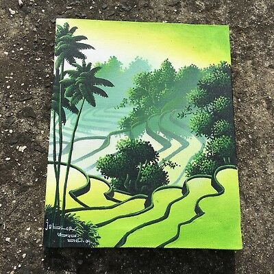 """ASIAN RICE PADDY """"Green"""" Lovely Painting Decorative Hanging Picture Wall Art"""