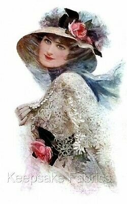 Lady Lace & Pink Rose Hat Quilt Block Multi Sizes FrEE ShiPPinG WoRld WiDE