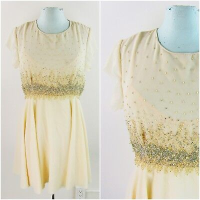 db61a378 Free People Glitter Rock Candy Babydoll Dress 4 Ivory Beaded Cream Mini  Party