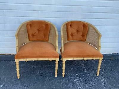 Hollywood Regency Pair of Caned Barrel Shape Painted Side Chairs 9426