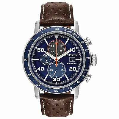 NEW Citizen Brycen Men's Blue Dial Brown Leather Strap Watch CA0648-09L