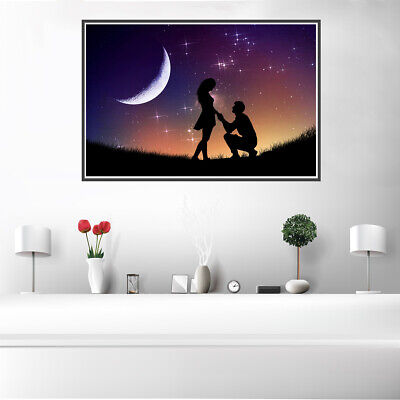 Romantic Night Sky Couples Canvas Painting Poster Picture Wall Home Art Decor