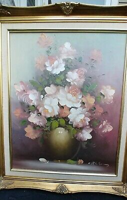 "ANTIQUE STYLE GOLD FRAMED OIL PAINTING 20x16"" CANVAS SIGNED ROSES FLOWERS FLORAL"