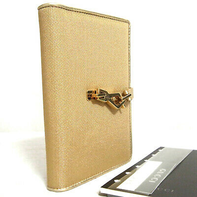 Auth Gucci Jackie Goldtone Canvas/Leather Agenda PM Sz Cover Day Planner Made It