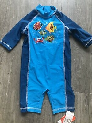 Mothercare Boys Blue Sun Suit Fish Swimming Costume Upf40+ Size 18-24 Months