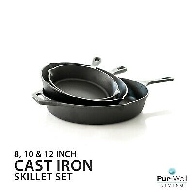Pur-Well Living Pur Cast Iron Extra Large, Pre-Seasoned, 3 Piece Cookware Set