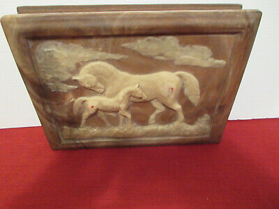 Vtg Dante American Walnut Jewelry Box Carved Incolay Stone Horse & Pony