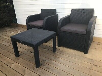Plastic Rattan Effect Bistro Set For Garden, Conservatory Or Patio
