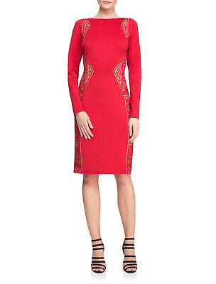 NWT Designer Red Nude Long Sleeve Edie Dress *Size M