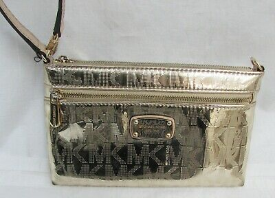 745c321f1007e4 Michael Kors Jet Set Signature Zip Clutch Wristlet Mirror Metallic Gold