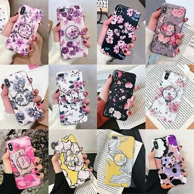 For iPhone XS Max XR X 6s 7 8 Plus Flower Pattern Stand Holder TPU Case Cover