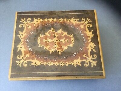 Vintage Wooden Music/Jewellery Box Marquetry