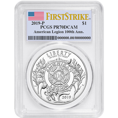 2019-P Proof $1 American Legion 100th Ann PCGS PR70DCAM FS Flag Label