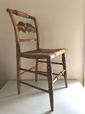 Vintage L. HITCHCOCK Eagle Back RUSH SEAT Side Chair Dining ANTIQUE Accent Maple