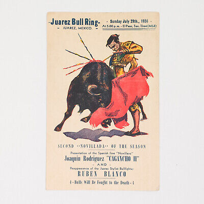1956 Mexico JUAREZ BULL RING POSTCARD STAMP COVER Bull Fight 50 CTS Chicago USA