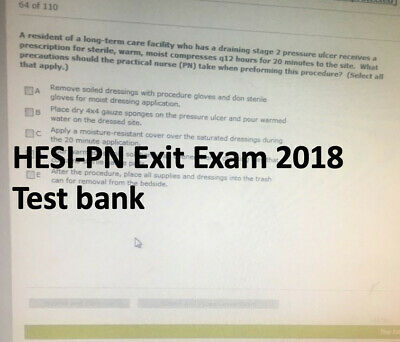 HESI PN EXIT EXAM 2018 Test Bank
