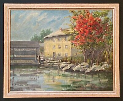 Vintage 20th Century Oil Painting Lake House Quebec Canada signed M.E. Robinson