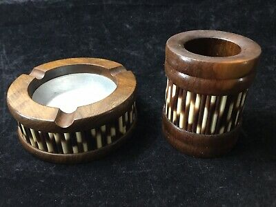 1960's ETHIOPIAN OLIVE WOOD PORCUPINE QUILL ASHTRAY & CIGARETTE BOX AFRICAN ART