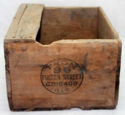 """Antique """"FROM 96 FULTON STREET CHICAGO ILLS"""" Wood Wooden Shipping Crate Box"""