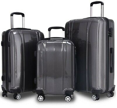 GLOBALWAY 3 Pcs 20'' 24'' 28'' Luggage Travel Set ABS+PC Trolley Suitcase -