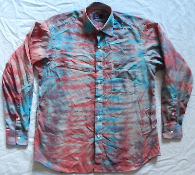 1854c8977d5b Striped Tie Dye Red Blue Long Sleeve Button Down Shirt - Large Mens  Psychedelic