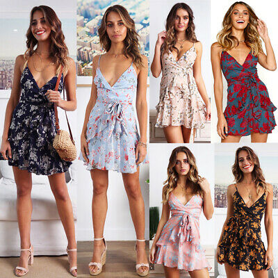 Sleeveless Summer Boho Strappy Short Mini Dress Evening Floral Belted Sundress