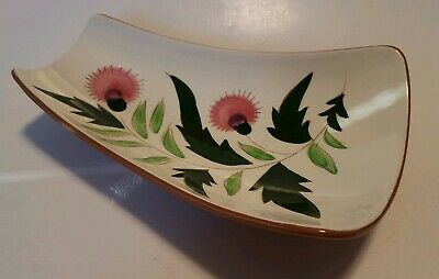 Stangl Pink Thistle Curved Dish Tray Pickle Candy Chips Snacks Relish Platter
