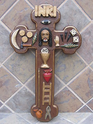 Old Vintage Hand Made Christ's Passion Wood Cross Mexican Folk Art