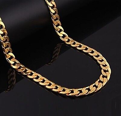 Men's 14K Yellow Gold Plated 22 Inches Cuban Link Chain Necklace