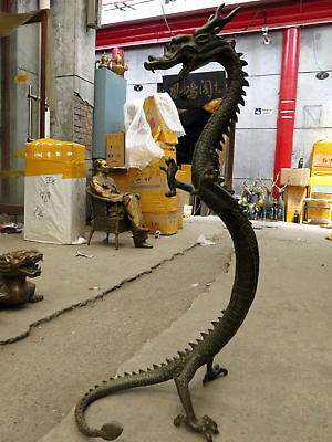 "47"" China bronze carved fine Mythical Animals luck dragon sculpture statue"