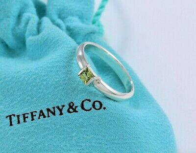 81056ad2b Tiffany & Co Sterling Silver Green Peridot Square Stack Band Ring Size 6 IN  BOX