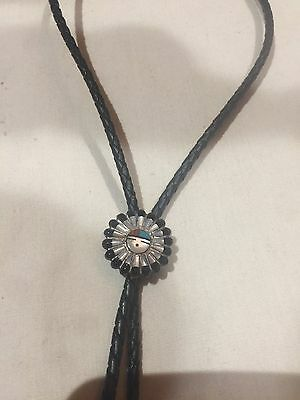 Vintage Zuni Southwest Real Inlay Gemstone 925 Sterling Silver Bolo Necklace