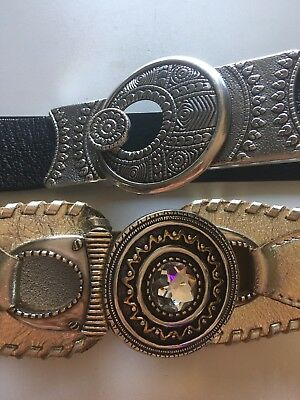 CHICO'S Lot Of 2 Belts: Black, Gold Size S/M Adjust Leather NEW
