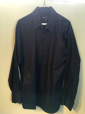 Kenneth Cole Mens Long Sleeve Black Button Front Dress Shirt SIZE L