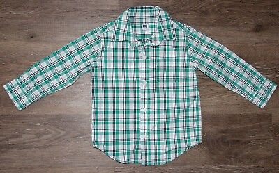 Janie and Jack Baby Boy Button front Green Plaid Shirt Size 18-24 Months Holiday
