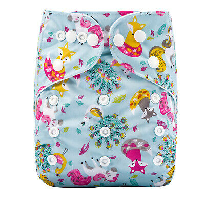 MODERN CLOTH NAPPIES REUSABLE ADJUSTABLE DIAPERS Peacock Unicorn & Foxes SHELL