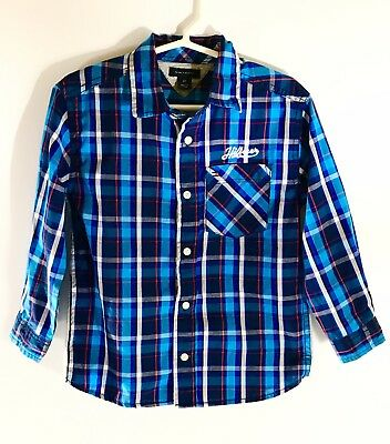 Tommy Hilfiger Baby Toddler Boy Blue Plaid Button Up Long Sleeve Shirt Jersey 8