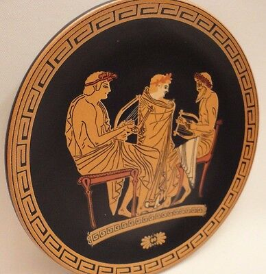 Archaeological Greek Music School Rare  Ancient Greek Art Pottery Plate