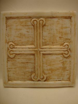 Byzantine Cross Rare Greek Orthodox Sculpture Art Hand Carved Marble Plaque