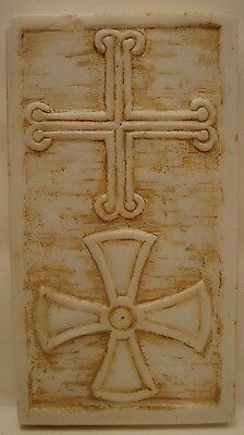 Byzantine Cross Rare Greek Orthodox Marble Cross Sculpture Art Carving Handmade