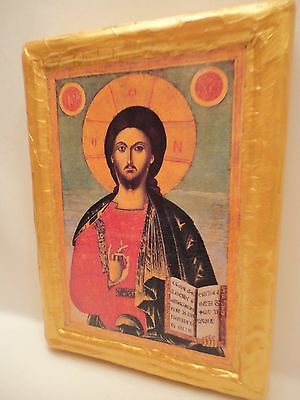 Jesus Christ Rare  Eastern Orthodox Icon Religious Art One of A Kind
