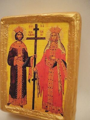 Saint Constantine & Saint Helen Rare Byzantine Greek Orthodox Icon Art OOAK