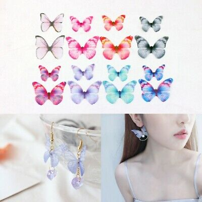 10x Colorful Organza Ethereal Butterfly For DIY Craft Earring Necklace Hair Clip