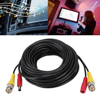 BNC Security Camera Cable CCTV Video Power Wire RCA Black Cord DVR 65FT 20M W7B3
