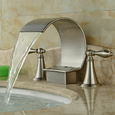 Waterfall Spout Bathroom Faucet Crystal Handle Tub Sink Mixer Tap Brushed Nickel