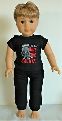 "WHITE Shirt BLACK Pants Tie Doll Clothes For 18/"" American Girl Boy Logan Debs"