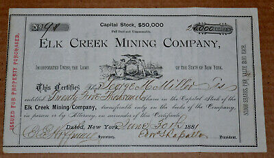 Elk Creek Mining Company 1881 antique stock certificate – 25,000 shares (1/2 of