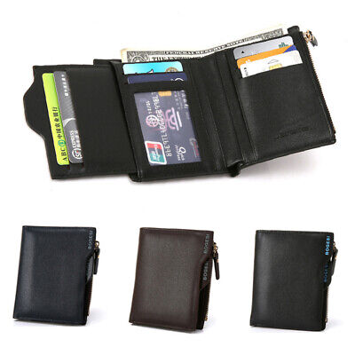 Men's PU Leather Bifold Wallet Coin Purse Short Money Clip ID Credit Card Holder